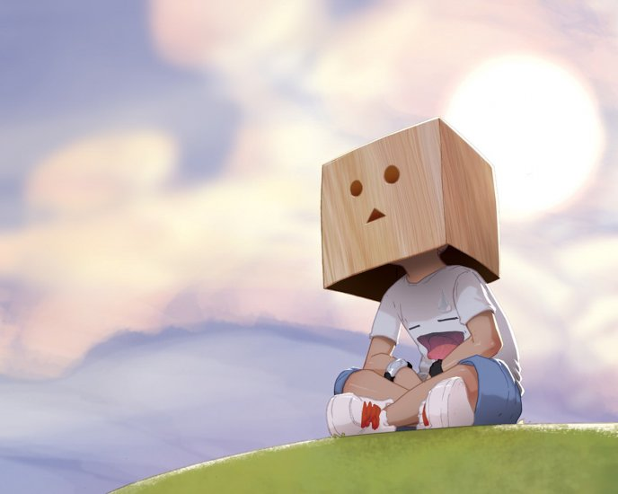 Download Wallpaper Child with a box on his head