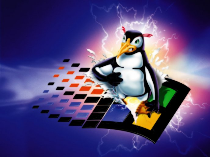 Angry Linux penguin destroying the Windows logo