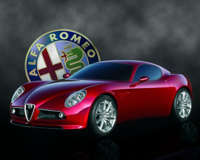 Alfa Romeo 8C - beautiful red car and logo