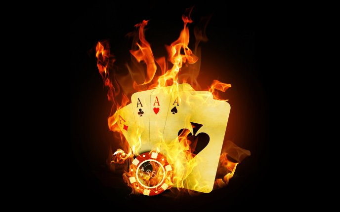 Download Wallpaper Four poker aces and chips in fire