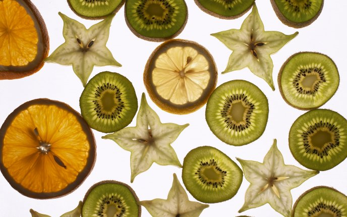 Download Wallpaper Slices of fruits and flowers