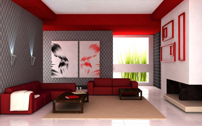 Living Room Hd red and gray living room hd wallpaper