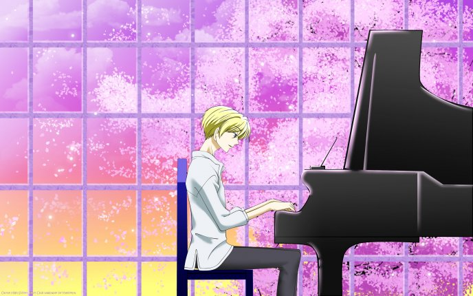 Anime - blonde guy playing at the piano