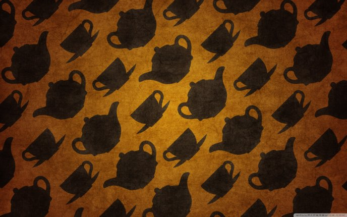 Wallpaper with cups and kettle for tea and coffee