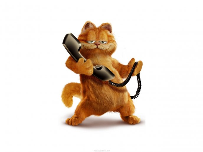 Garfield the clever cat speaks on the phone hd wallpaper voltagebd Image collections