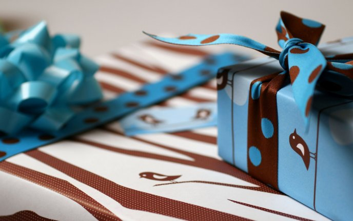 A small gift a ribbon with dots hd wallpaper negle Gallery