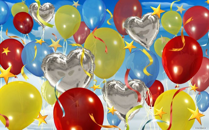 Happy Birthday To All Balloons In The Air Hd Wallpaper