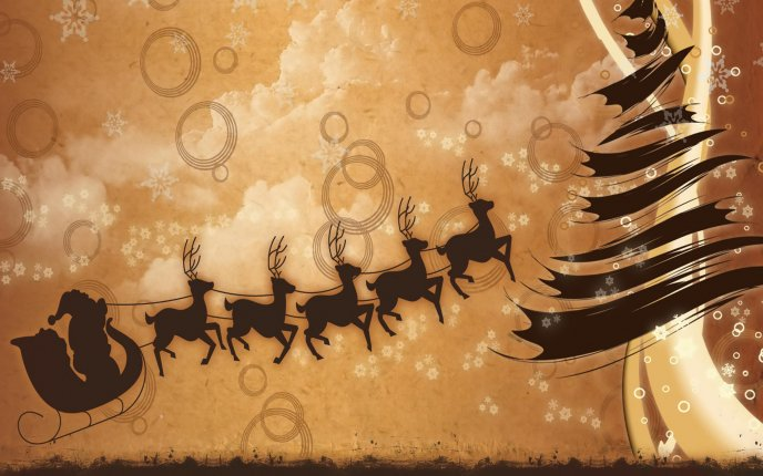 Santa Claus and reindeer flying HD drawing wallpaper