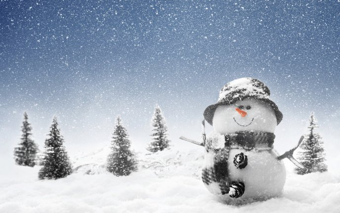 Download Wallpaper Snowman tall as tree HD winter wallpaper