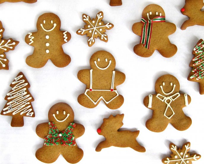 Gingerbread Man Reindeer Snowflakes Cookies For Christmas