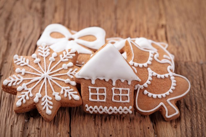 Christmas Cookies Wallpaper.Delicious Christmas Cookies On A Wooden Table