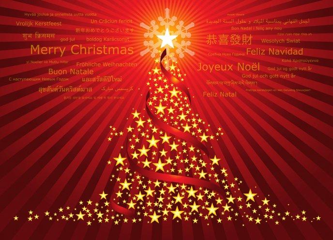 Merry Christmas to all - Christmas tree made of stars