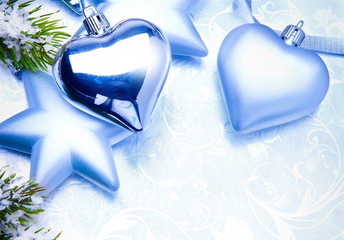 Blue hearts christmas ornaments hd wallpaper