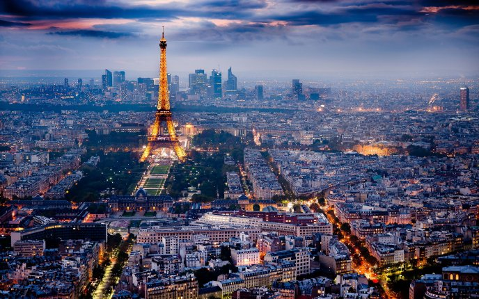 Landscape Paris Night View Hd Wallpaper