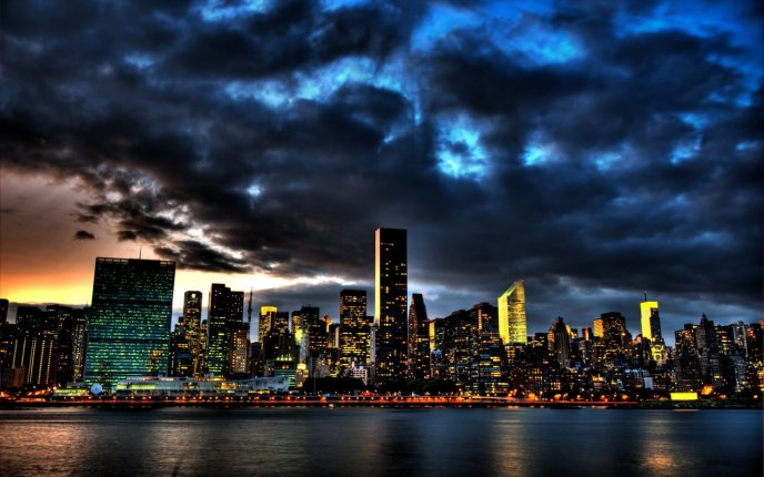 Beautiful sky at night over the New York city