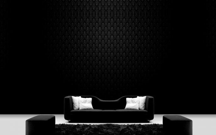 Black Sofa On A Dark Room Hd Wallpaper