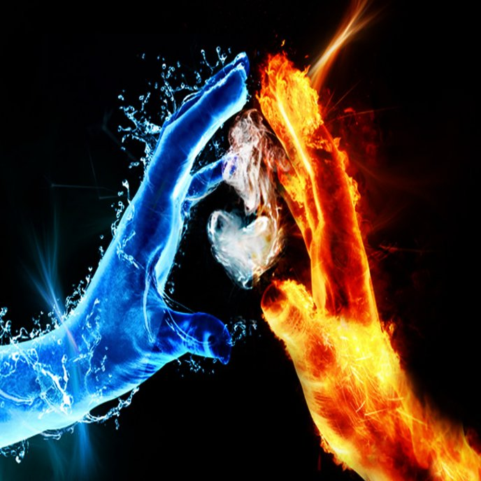 The love between water and fire HD wallpaper