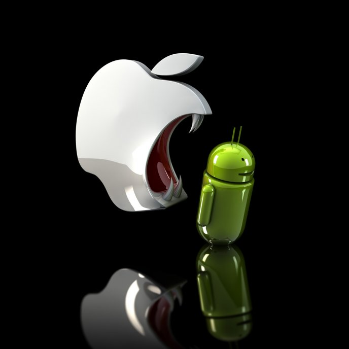 Apple eating Android - Funny HD wallpaper
