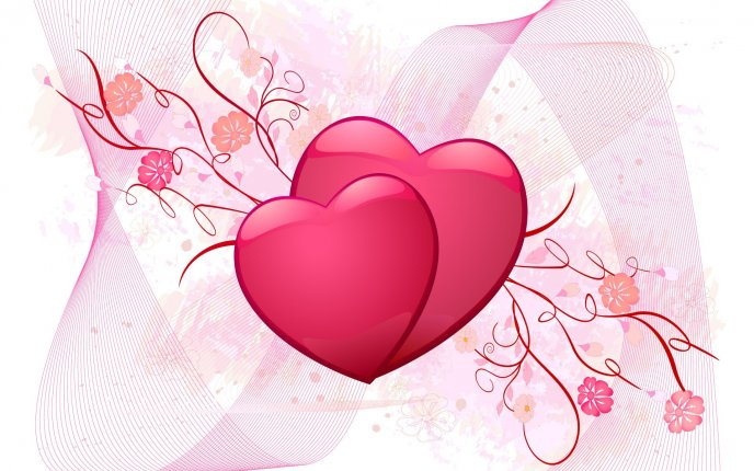 Two pink hearts - Valentine\'s Day HD wallpaper