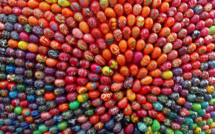 Hundreds of painted eggs for easter holiday hd wallpaper - Wallpaper ostern ...