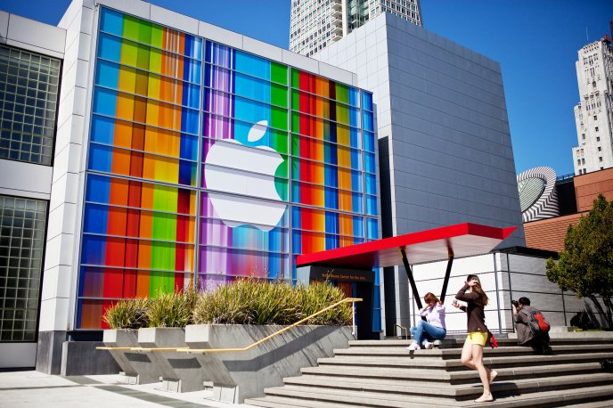 Apple logo on a big building - HD wallpaper