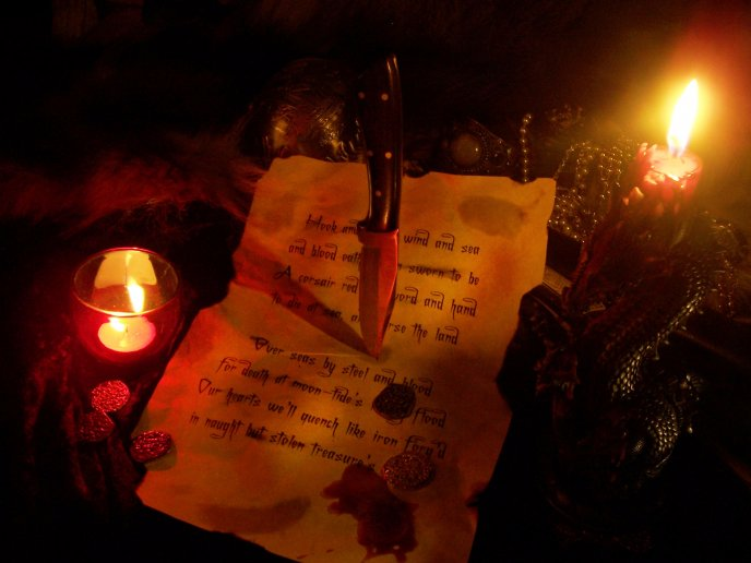 Bloody message written at candlelight