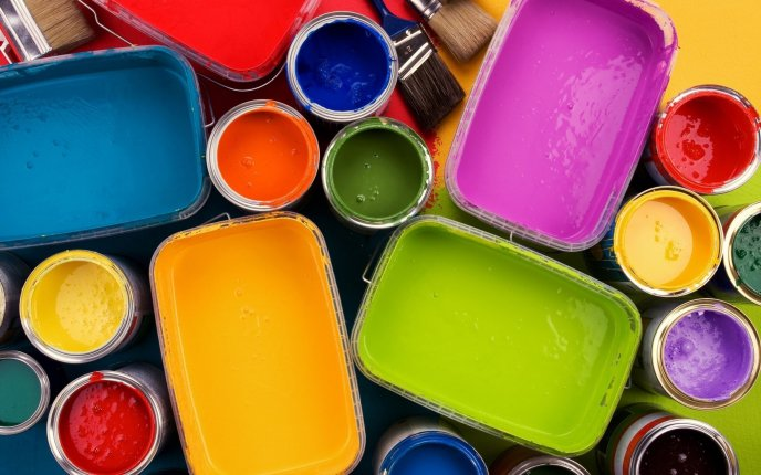Paints In A Palette Full Of Colors Hd Wallpaper