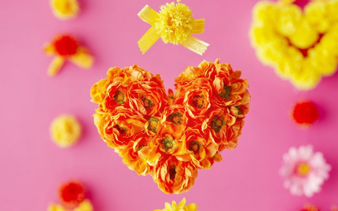 Bouquet of flowers in heart shape - close up