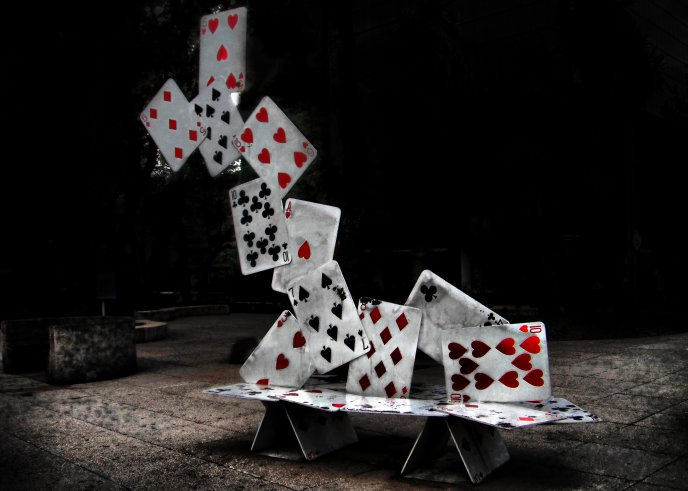 Download Wallpaper Abstract castle of cards poker