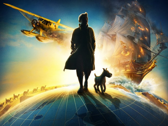 Download Wallpaper Stepping over the world - The adventures of Tintin