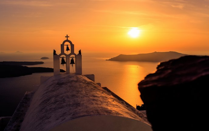 Bells Of A Church In The Sunset Hd Wallpaper