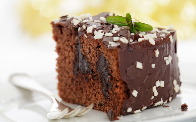 Delicious piece of cake - chocolate and mint
