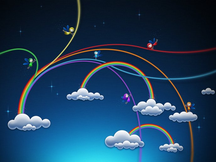 Magic rainbow in the sky - cartoons HD wallpaper