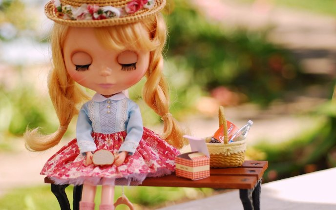 A beautiful blonde doll - toy for kids