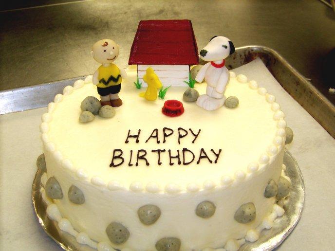 Cute Snoopy Cake Happy Birthday