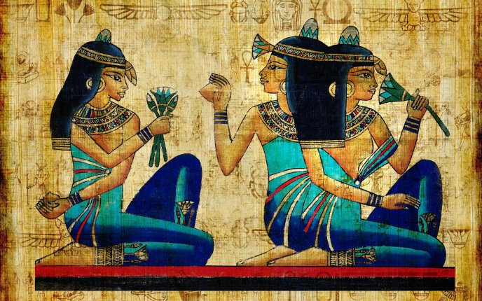 Download Wallpaper An ancient Egyptian papyrus drawing - HD wallpaper