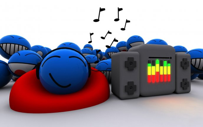 Blue smiley faces listening music - happy day