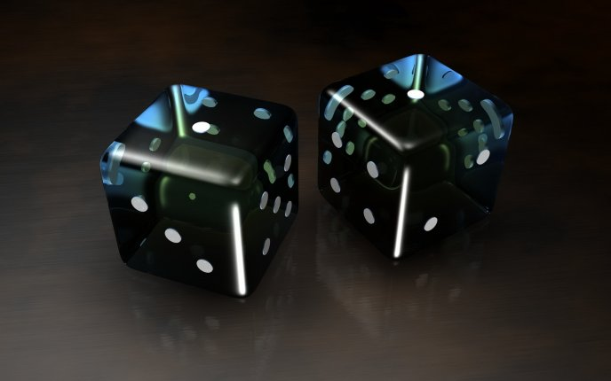 Shiny 3D black dice - gambling
