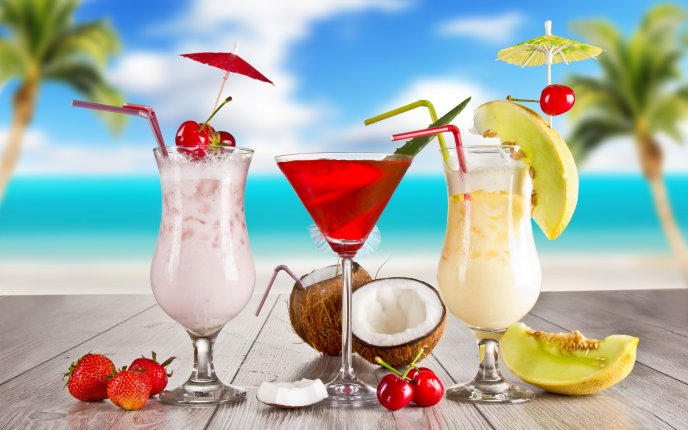 Delicious summer fruit cocktail - HD wallpaper