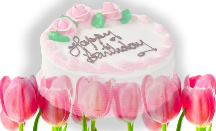 Happy birthday - beautiful pink cake for everyone