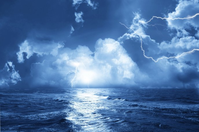 Storm at sea - lightnings on the sky blue