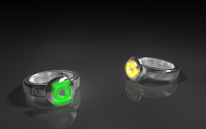 Two silver rings on a mirror floor - lantern colors