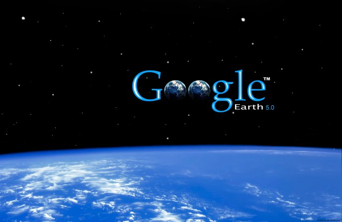 Beautiful wallpaper with Google over the Earth