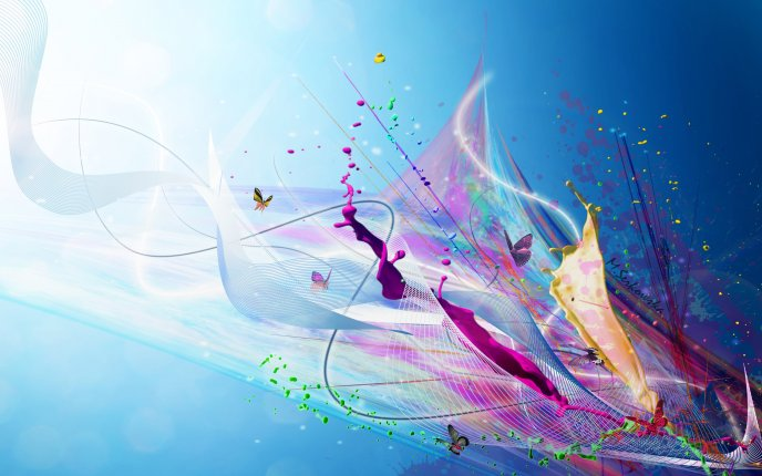 Splash Blue Color Abstract Bright Hd Wallpaper