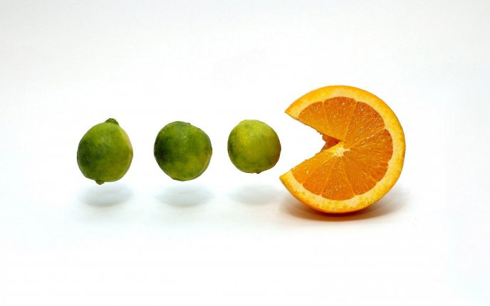 Orange pacman eating the limes - funny HD wallpaper