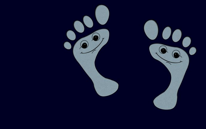 Funny smile footprint - HD wallpaper
