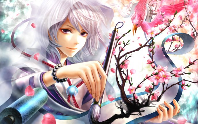 Beautiful painter anime boy - real tree on the paper