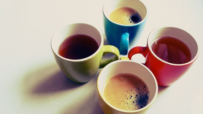 Four delicious cups of tea and coffee - good morning