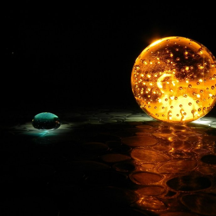 Fire and water - magic balls on the floor