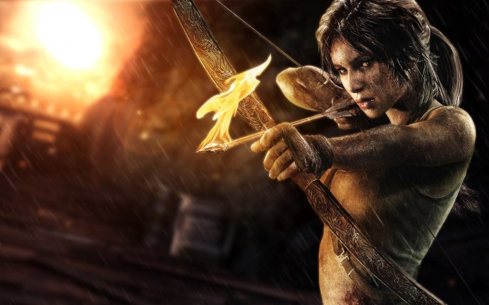Girl With Bow Fire Lara Croft In Tomb Raider 2013